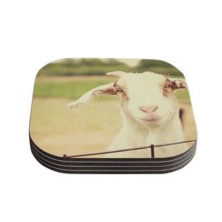 Kess InHouse Angie Turner 'Happy Goat' Smiling Animal Coasters (Set of 4)