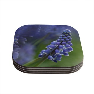 "Kess InHouse Angie Turner ""Grape Hyacinth"" Green Purple Coasters (Set of 4) 4""x 4"""