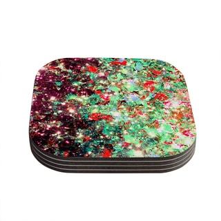 Kess InHouse Ebi Emporium 'Mistletoe Nebula' Red Green Coasters (Set of 4)