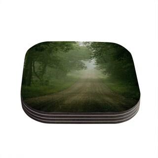 Kess InHouse Angie Turner 'Foggy Road' Forest Coasters (Set of 4)