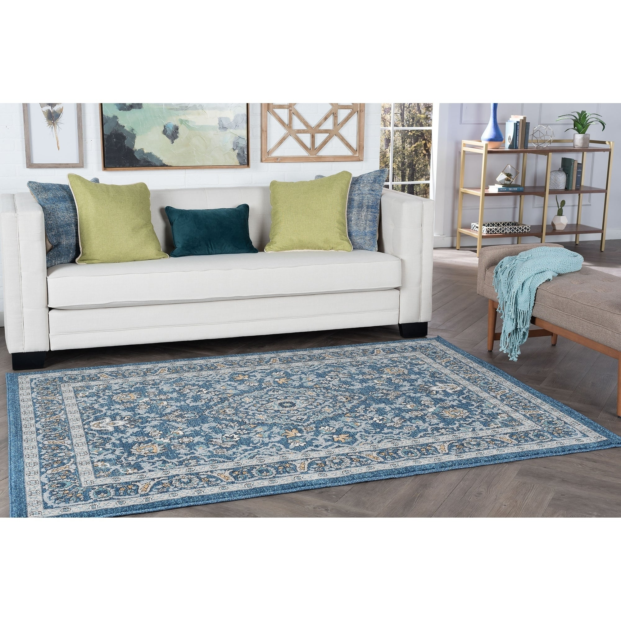 Alise Rugs Kinsley Traditional Oriental Area Rug (710 x 103 - navy)