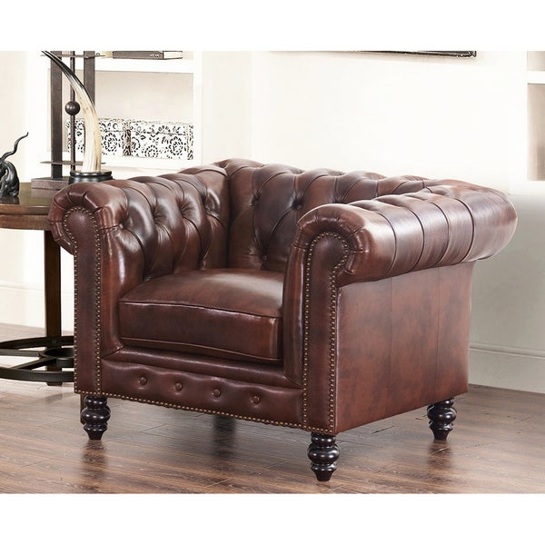 Abbyson Grand Chesterfield Brown Top Grain Leather Armchair