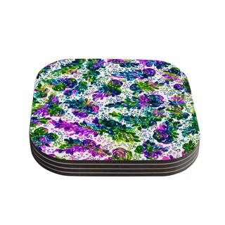 Kess InHouse Ebi Emporium 'Prismatic Posy III' Purple Green Coasters (Set of 4)