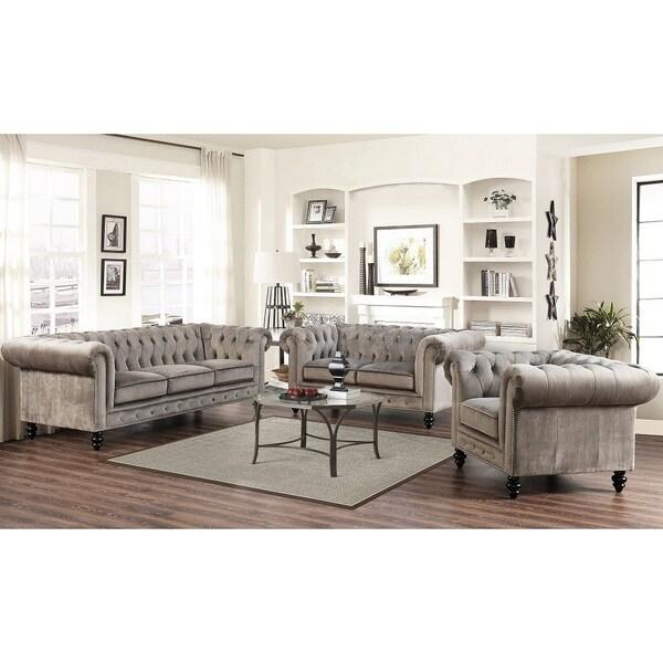 three piece living room set. Abbyson Grand Chesterfield Grey Velvet 3 Piece Living Room Set