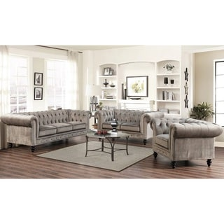 Abbyson Living Grand Chesterfield Grey Velvet 3 Piece Sofa, Loveseat, and Armchair