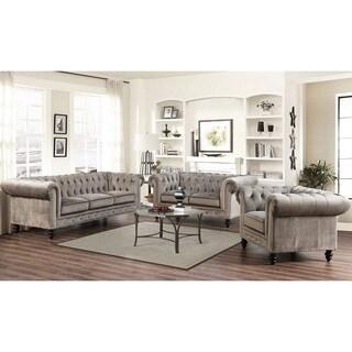 Abbyson Grand Chesterfield Grey Velvet 3 Piece Living Room Set