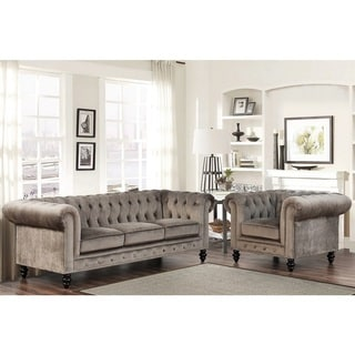 Abbyson Grand Chesterfield Grey Velvet Sofa and Armchair