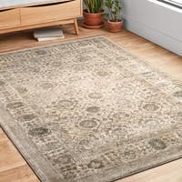 Traditional Beige/ Grey Floral Border Rug - 9'6 x 13'