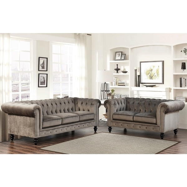 Abbyson Grand Chesterfield Grey Velvet 2 Piece Living Room Set Free Shipping Today Overstock