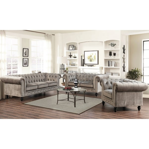 Abbyson Grand Chesterfield Grey Velvet 2 Piece Living Room Set