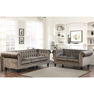 Abbyson Grand Chesterfield Grey Velvet Sofa and Loveseat
