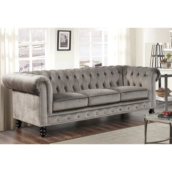 abbyson grand chesterfield grey velvet sofa free. Black Bedroom Furniture Sets. Home Design Ideas