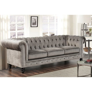 Abbyson Living Grand Chesterfield Grey Velvet Sofa