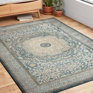 Traditional Blue/ Beige Medallion Border Rug