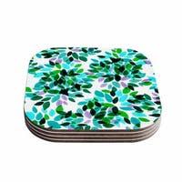 Kess InHouse Ebi Emporium 'Dahlia Dots 7' Teal Green Coasters (Set of 4)