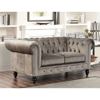 Abbyson Living Grand Chesterfield Grey Velvet Loveseat