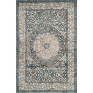 Kendrick Blue/ Sand Medallion Rug (3'7 x 5'7)