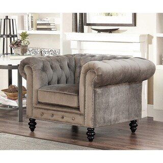 Abbyson Living Grand Chesterfield Grey Velvet Armchair