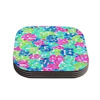 "Kess InHouse Beth Engel ""Flower Garden"" Coasters (Set of 4) 4""x 4"""