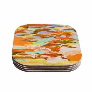 Kess InHouse Ebi Emporium 'Still Up In The Air 5' Yellow Orange Coasters (Set of 4)
