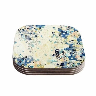 Kess InHouse Ebi Emporium 'And It's Up She Goes' Blue Cream Coasters (Set of 4)