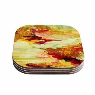 Kess InHouse Ebi Emporium 'On Cloud Nine - 5' Yellow Brown Coasters (Set of 4)