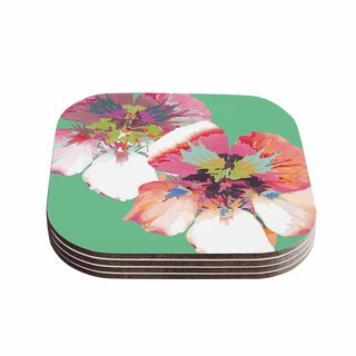 "Kess InHouse Love Midge ""Graphic Flower Nasturtium Mint"" Green Magenta Coasters (Set of 4) 4""x 4"""