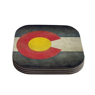 """Kess InHouse Bruce Stanfield """"State Flag of Colorado"""" Black Red Coasters (Set of 4) 4""""x 4"""""""