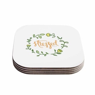 Kess InHouse Busy Bree 'Stressed Out ' Green Floral Coasters (Set of 4)