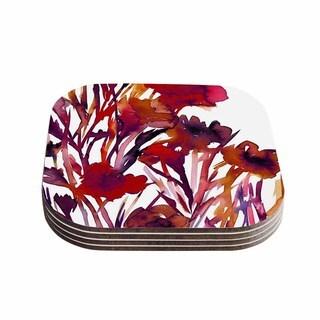 Kess InHouse Ebi Emporium 'Pocket Full Of Posies Red' Maroon Purple Coasters (Set of 4)
