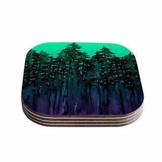 Kess InHouse Ebi Emporium 'Forest Through The Trees 9' Purple Black Coasters (Set of 4)