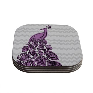 "Kess InHouse Brienne Jepkema ""Peacock Purple"" Lavender Gray Coasters (Set of 4) 4""x 4"""