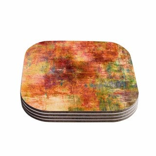 Kess InHouse Ebi Emporium 'Hazy' Olive Orange Coasters (Set of 4)