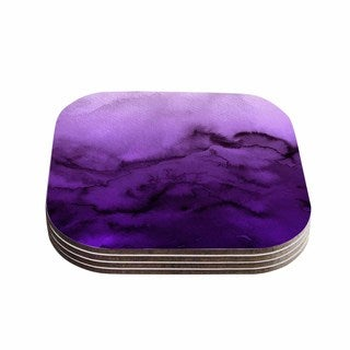 Kess InHouse Ebi Emporium 'Winter Waves 9' Purple Wood Abstract Coasters (Pack of 4)
