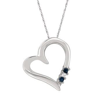 Montebello Jewelry 14k White Gold 1/8ct TGW Blue Sapphire Heart Pendant Necklace (H-I, I2)