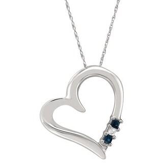 Montebello 14KT White Gold 1/8ct TGW Blue Sapphire Heart Pendant