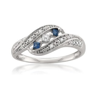 Montebello Jewelry 14k White Gold 1/6ct TGW Blue Sapphire and White Diamond Fashion Ring