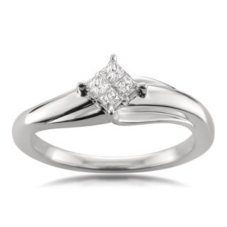 Montebello Jewelry 14k White Gold 1/5ct TDW Princess-cut Diamond Composite-set Engagement Ring (H-I, I1-I2)