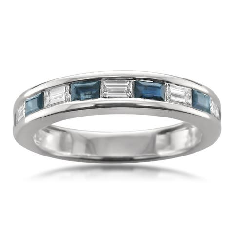 Montebello Jewelry 14k White Gold 5/8ct Blue Sapphire and 1/2ct TDW White Diamond Baguette-cut Wedding Band (G-H, VS1-VS2)