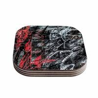 Kess InHouse Bruce Stanfield 'Areus' Red Abstract Coasters (Set of 4)