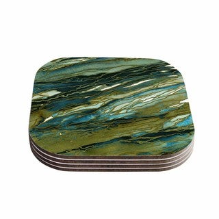 Kess InHouse KESS InHouse Agate Magic Green/Blue/Brown Wood Coasters (Set of 4)