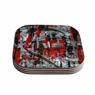 Kess InHouse Bruce Stanfield 'Zinger In Red' Black Abstract Coasters (Set of 4)