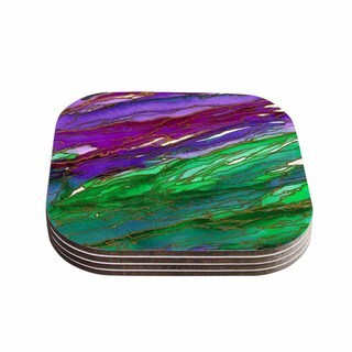Kess InHouse Ebi Emporium 'Agate Magic - Lime Purple' Green Lavender Coasters (Set of 4)