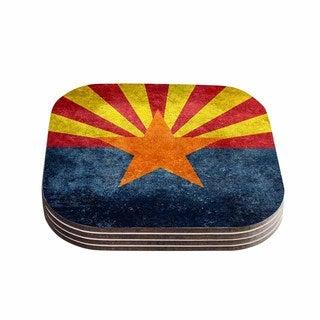 Kess InHouse Bruce Stanfield 'Arizona State Flag Retro Style' Orange Blue Coasters (Set of 4)