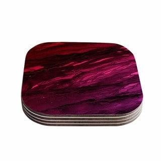 Kess InHouse Ebi Emporium 'Agate Magic - Red Pink Plum' Deep Purple Coasters (Set of 4)