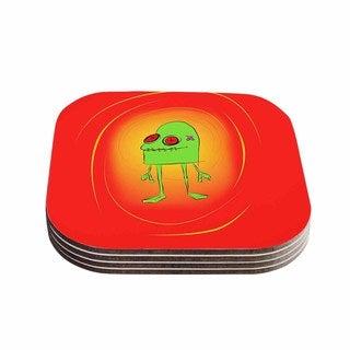 Kess InHouse Bruce Stanfield 'Introducing Obo' Green Orange Coasters (Set of 4)