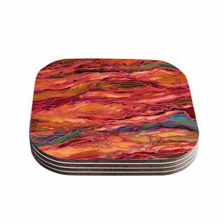 Kess InHouse Ebi Emporium 'Marble Idea! - Tropic Fusion' Orange Red Coasters (Set of 4)