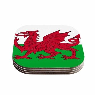 Kess InHouse Bruce Stanfield 'Flag Of Wales - Authentic' Fantasy Illustration Coasters (Set of 4)