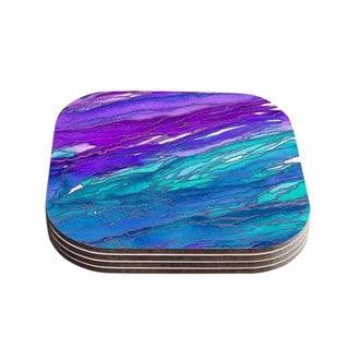 Kess InHouse Ebi Emporium 'Agate Magic - Purple Blue' Aqua Lavender Coasters (Set of 4)