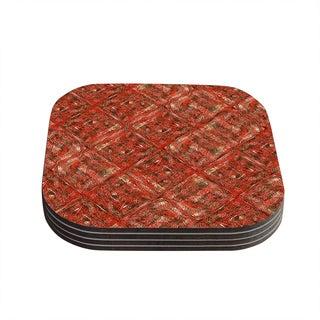Kess InHouse Bruce Stanfield 'Malica' Red Orange Coasters (Set of 4)